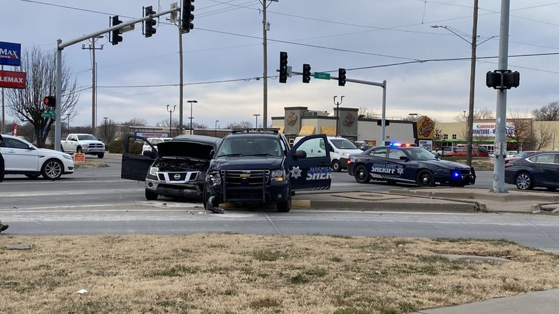 A Sedgwick County deputy's patrol vehicle collided with an SUV Monday afternoon in east Wichita.