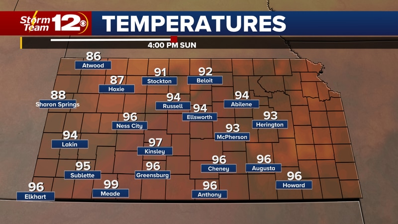 Forecast temperatures Sunday afternoon.