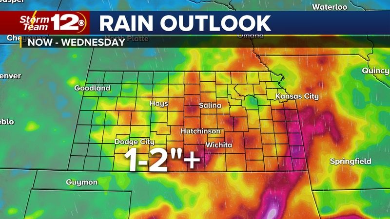 Forecast rainfall from now through Wednesday.