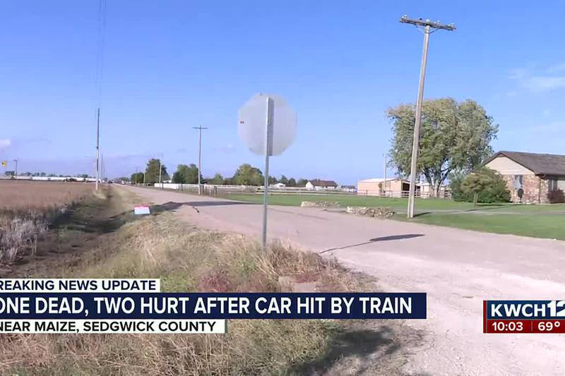 Crash involving train and truck west of Maize