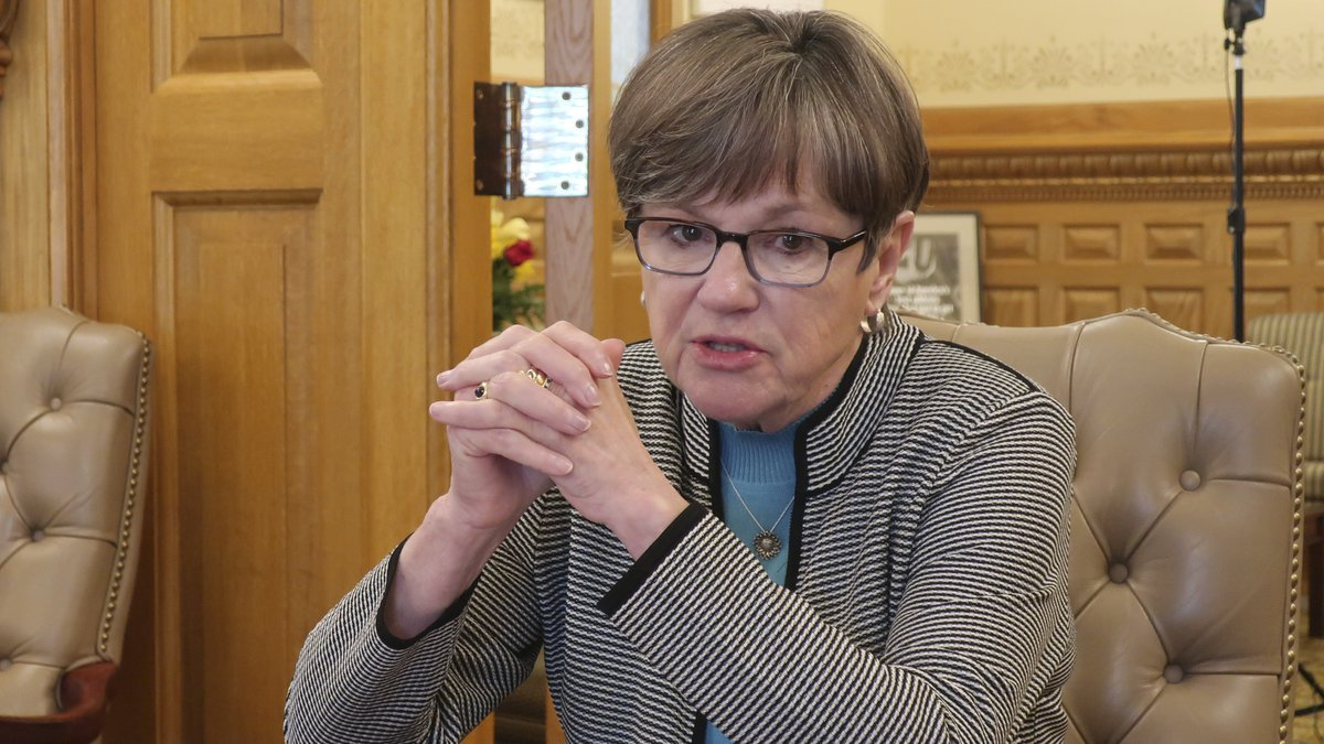 In this photo from Friday, May 1, 2020, Kansas Gov. Laura Kelly discusses the coronavirus...