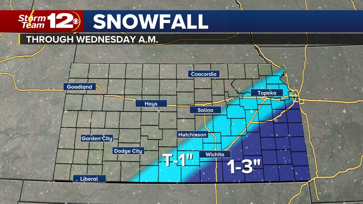 Light snow for parts of Kansas overnight.