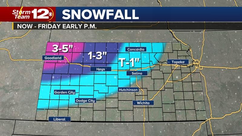 Forecast snow amounts tonight through Friday.