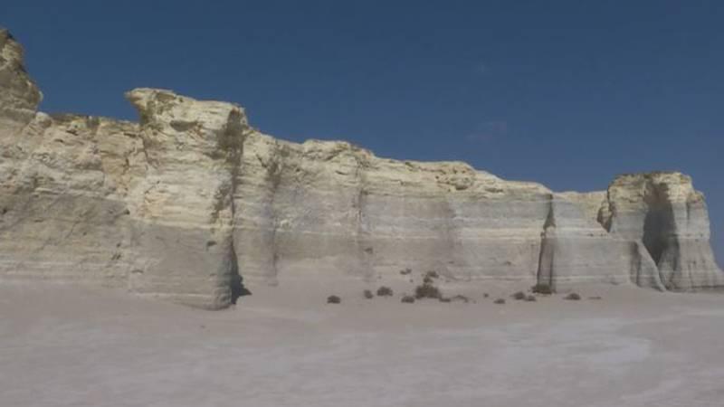 Monument Rocks Natural Landmark in Gove County, Kansas