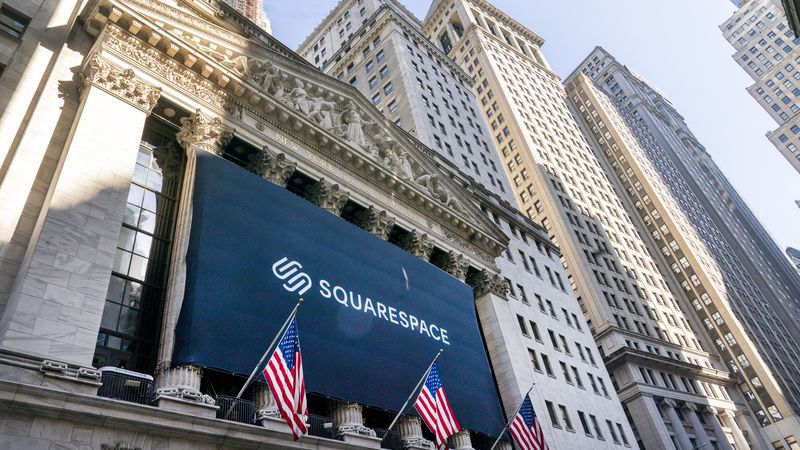 A banner for Squarespace hangs at the New York Stock Exchange, Wednesday, May 19, 2021. The New...