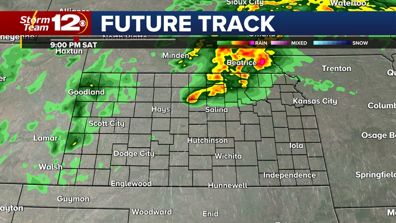 Storms could produce large hail, damaging wind gusts, and a few tornadoes in Kansas this...