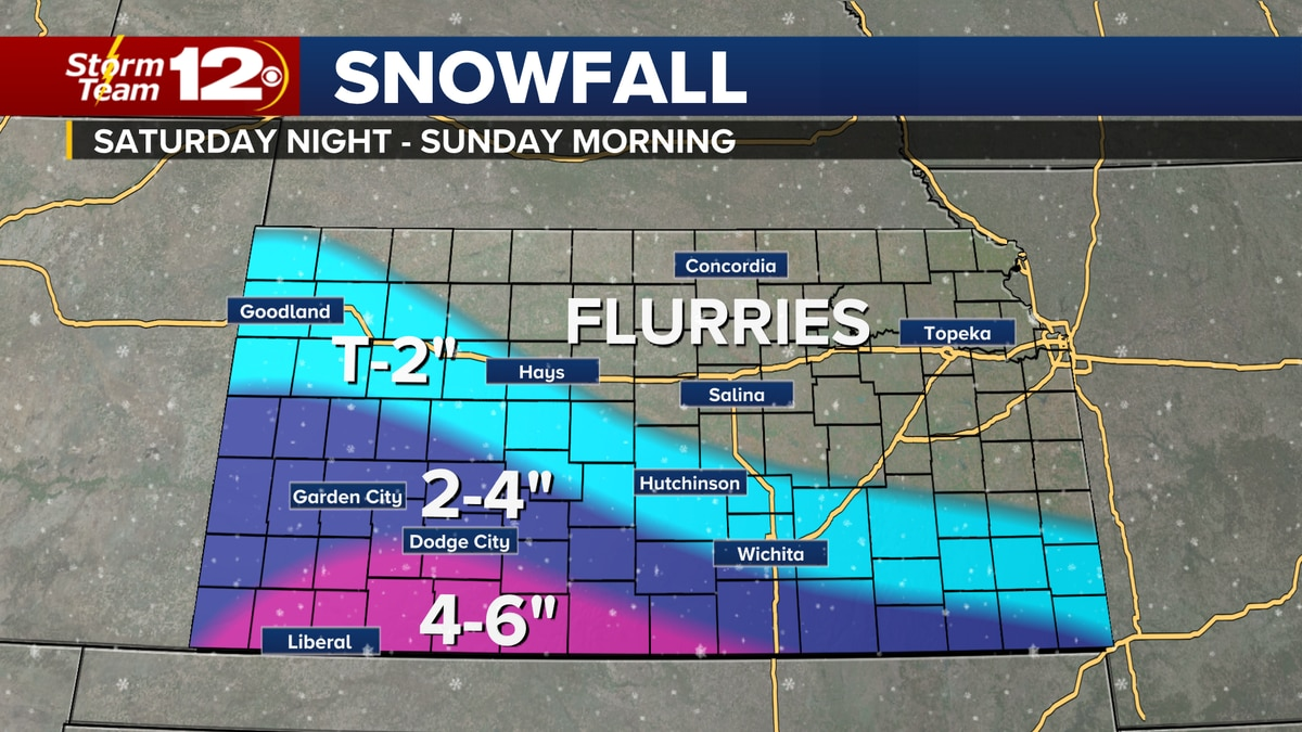 Snow will be possible, especially for southern Kansas, overnight into Sunday morning.