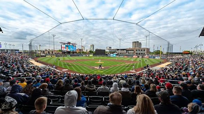 Crowd gathered for May 11, 2021 home opener for the Wichita Wind Surge at Riverfront Stadium