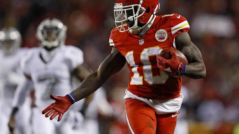 Kansas City Chiefs wide receiver rookie Tyreek Hill (10) celebrates as he scores a touchdown on...
