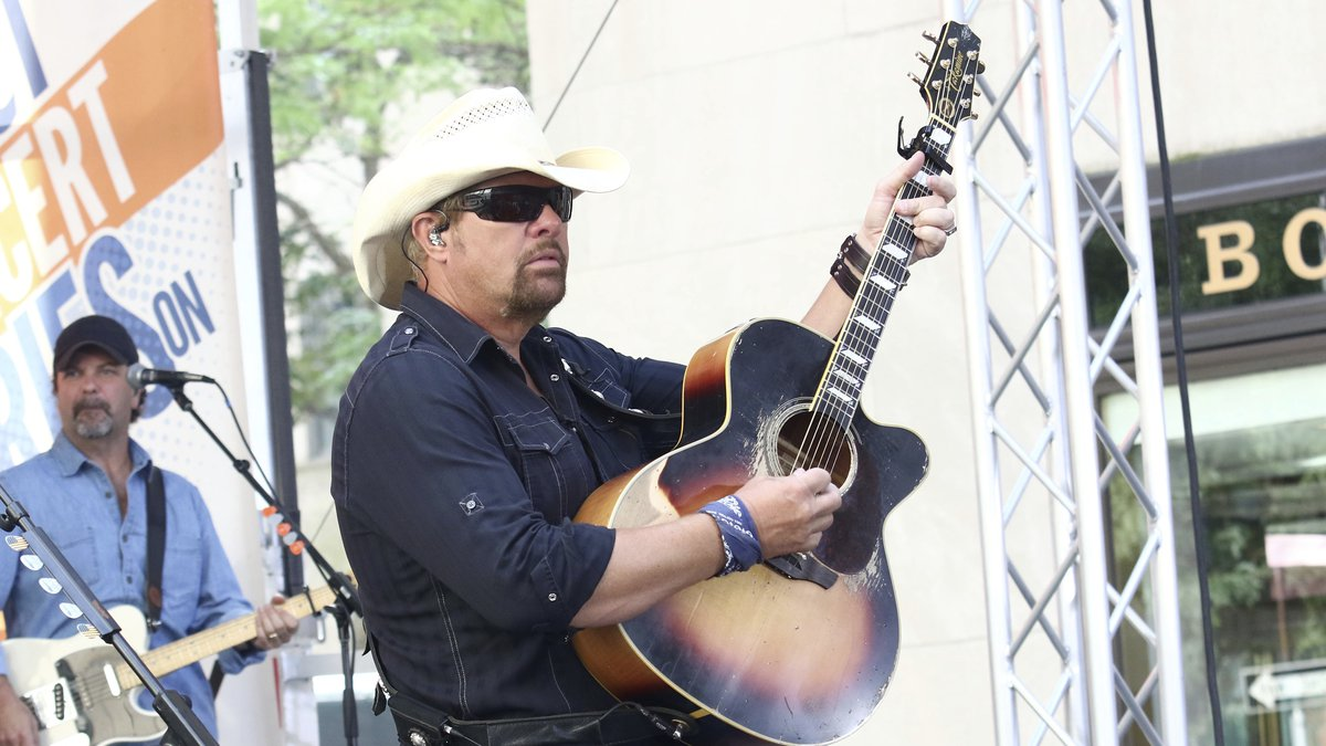 Country music recording artist Toby Keith performs on NBC's Today show at Rockefeller Plaza on...