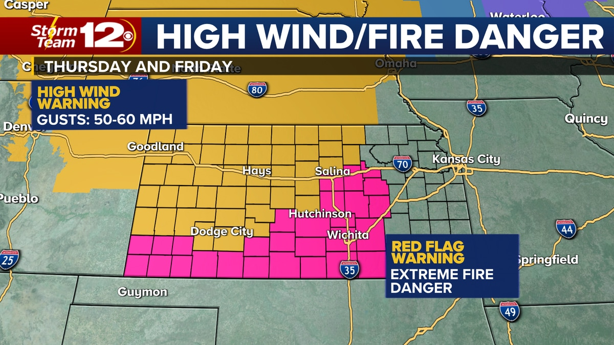 Extreme winds will lead to fire weather concerns Thursday and Friday.