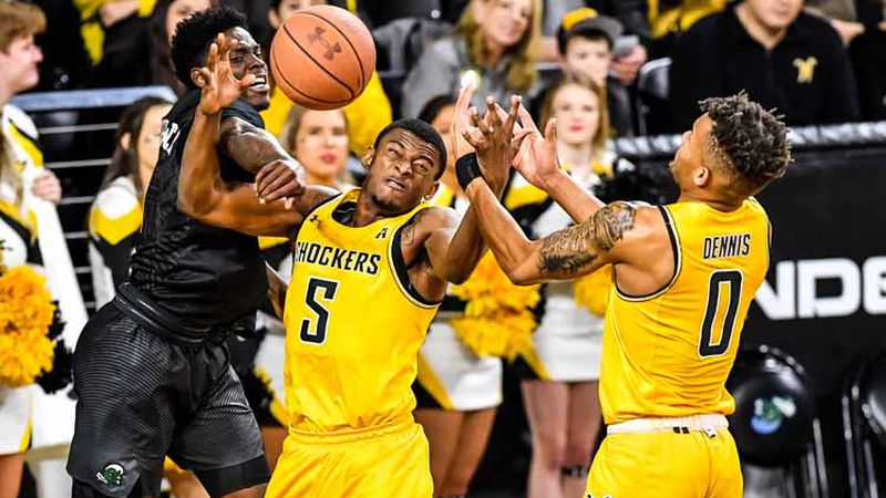 Feb, 16, 2020; Wichita, Kansas, USA;  during an AAC matchup between the Wichita State Shockers...