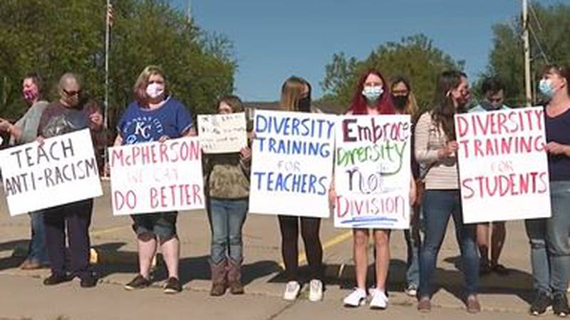 Teachers joined parents and students in calling for change in the McPherson school district...
