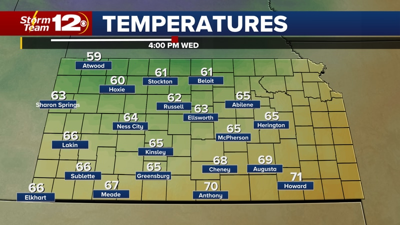 Forecast temperatures Wednesday afternoon.