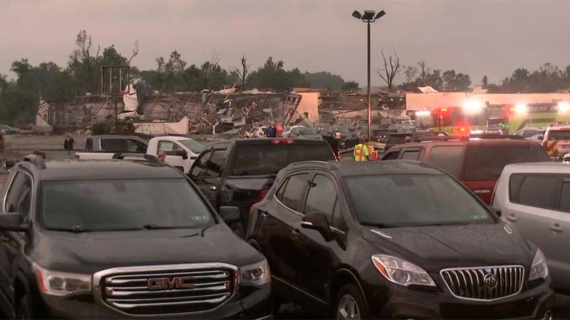 A building housing multiple car dealerships in Bucks County, Pa., was wrecked by a powerful...