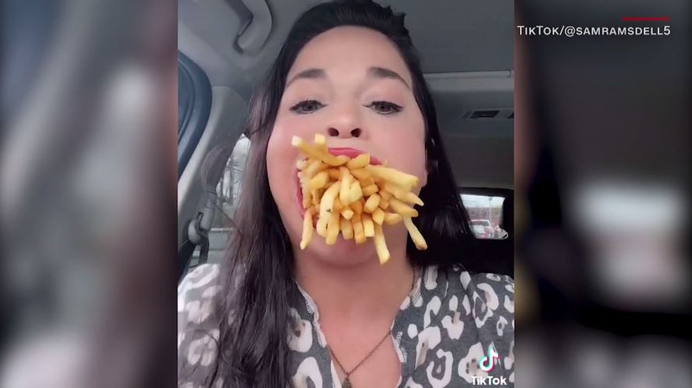 Samantha Ramsdell, 31, can fit an entire large order of French fries in her mouth, which...