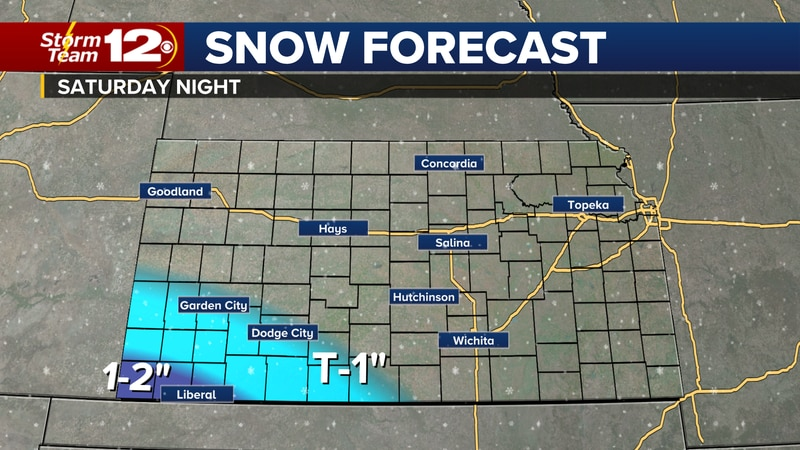 The weekend snow chance is limited to far southwest Kansas.