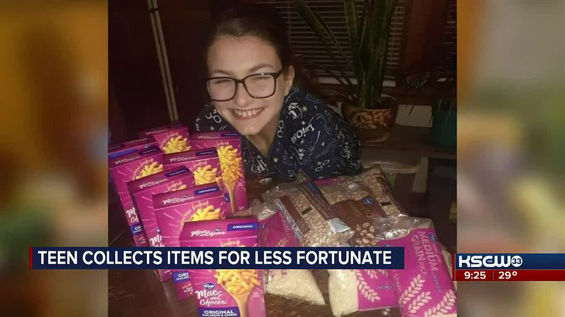 Teen collects items for less fortunate