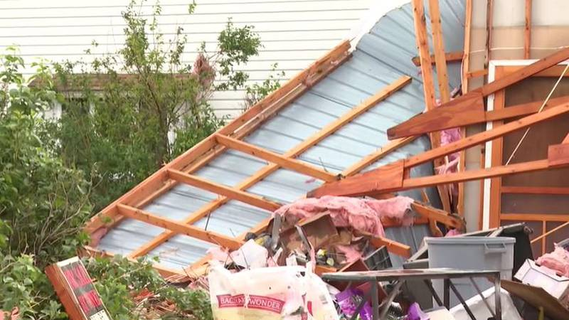 Damage from a severe thunderstorm in Kansas.