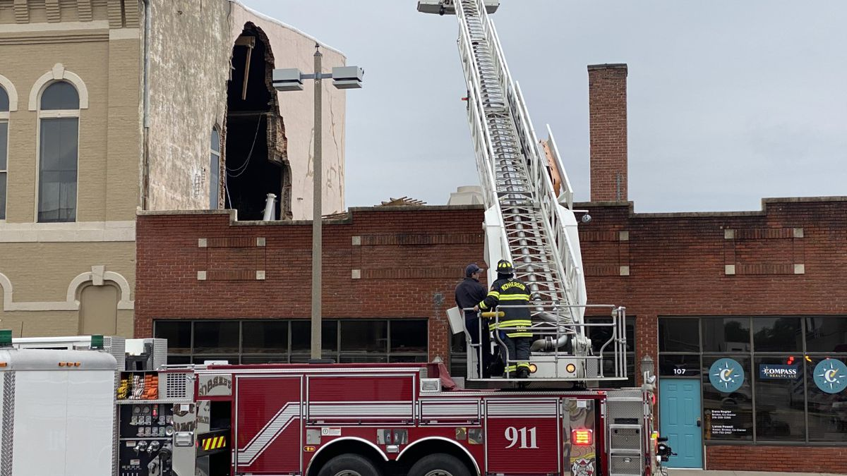 Firefighters responded to a partial building collapse in downtown McPherson on Tuesday...