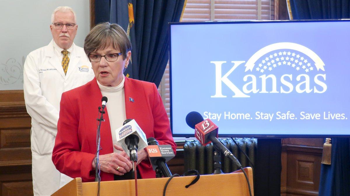 In this Friday, May 8, 2020 photo, Kansas Gov. Laura Kelly discusses the coronavirus pandemic...