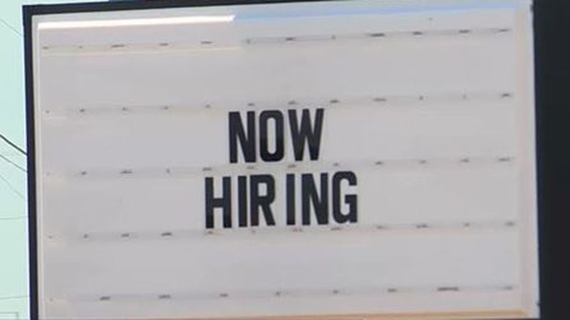 """Now Hiring"" sign at a business in Wichita, Kansas"