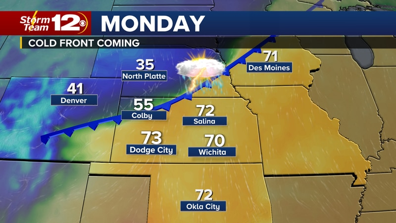 A cold front is coming that will bring rain to Kansas on Monday and cooler temps through the...