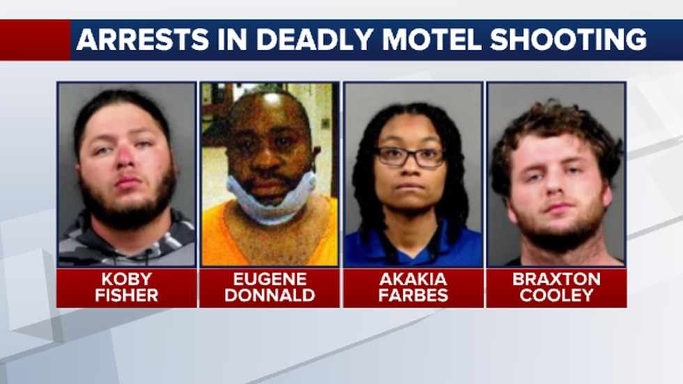 Wichita Police arrested four people connected to a deadly shooting at a west Wichita hotel yesterday.