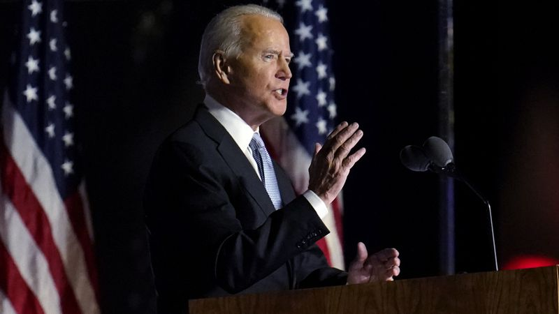 President-elect Joe Biden speaks in Wilmington, Del., Saturday, Nov. 7, 2020. (AP Photo/Paul...