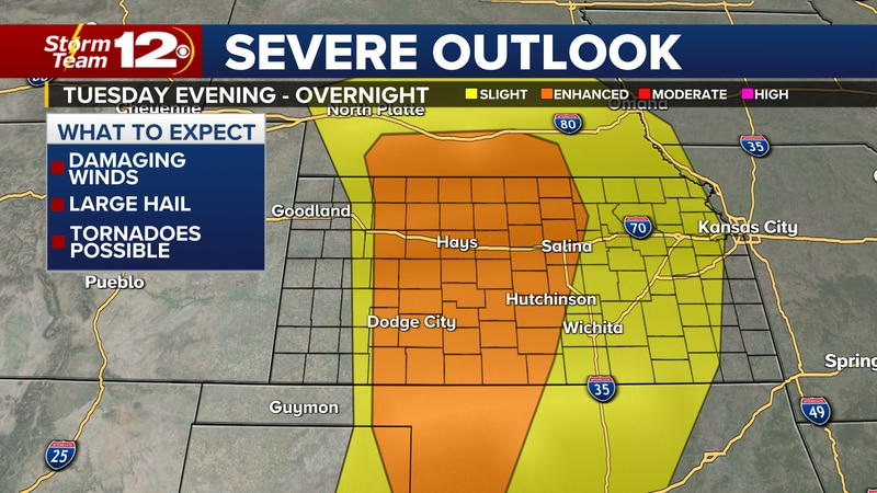 Severe weather outlook for Tuesday evening and Tuesday night.