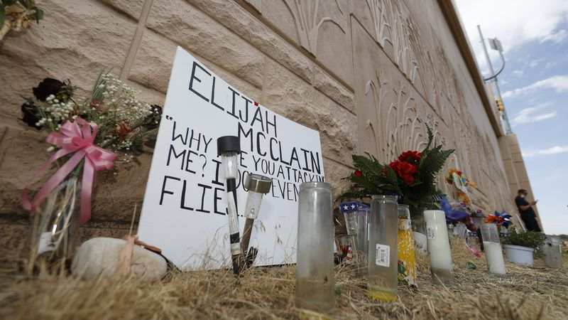 In this July 3, 2020 file photo, a memorial site across the street from where Elijah McClain...