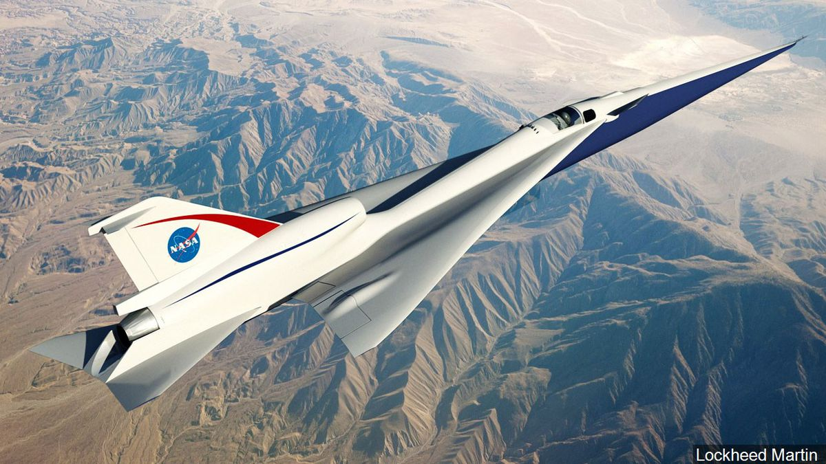 Concept art for the Quiet Supersonic Technology (QueSST) X-plane by Lockheed Martin