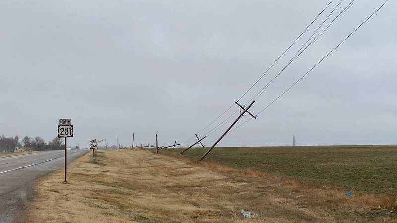 About 24 power poles were confirmed down between the two towns by Pratt County Emergency...