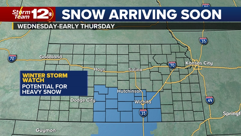 Winter storm watch for south central Kansas midweek.