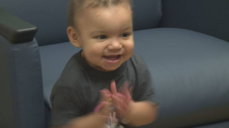 Briella Hase, 18 months, celebrates her final chemotherapy treatment for her second bout with...