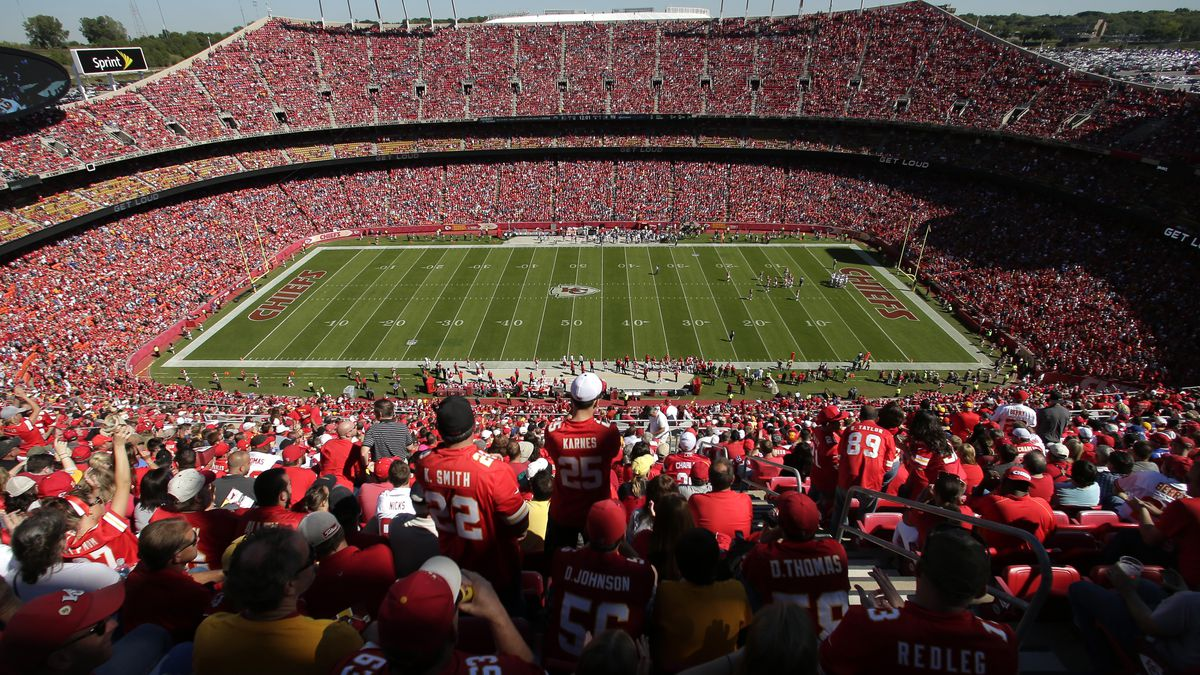 Fans watch an NFL football game between the Kansas City Chiefs and the New York Giants at Arrowhead Stadium Sunday, Sept. 29, 2013, in Kansas City, Mo. (AP Photo/Charlie Riedel)