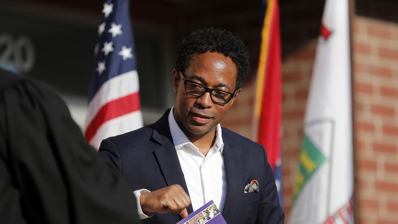 St. Louis County Prosecuting Attorney Wesley Bell is seen during an inauguration ceremony for...