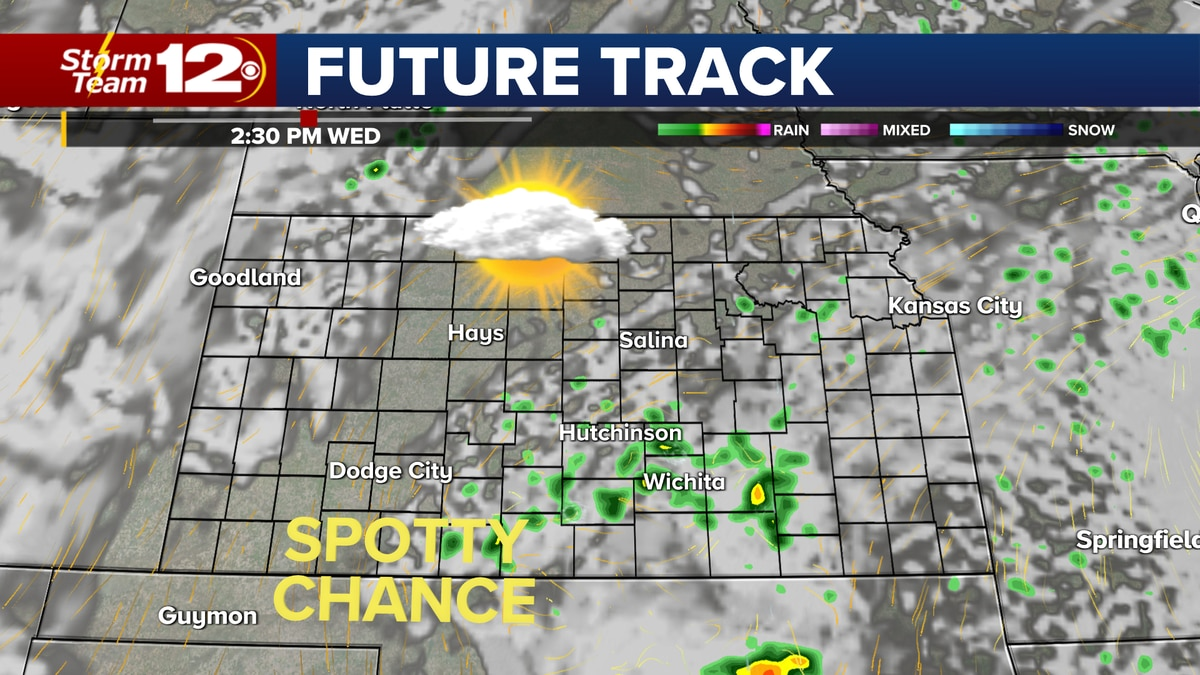 Isolated storms possible over central Kansas Wednesday afternoon.