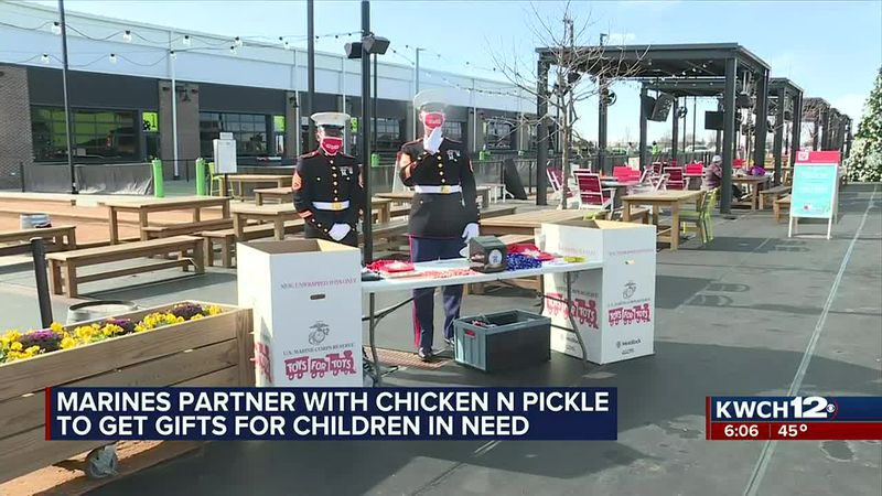Marines partner with Chicken N Pickle to get gifts for children