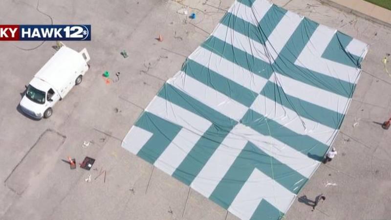 Aerial view of fireworks tent in Wichita, Kansas