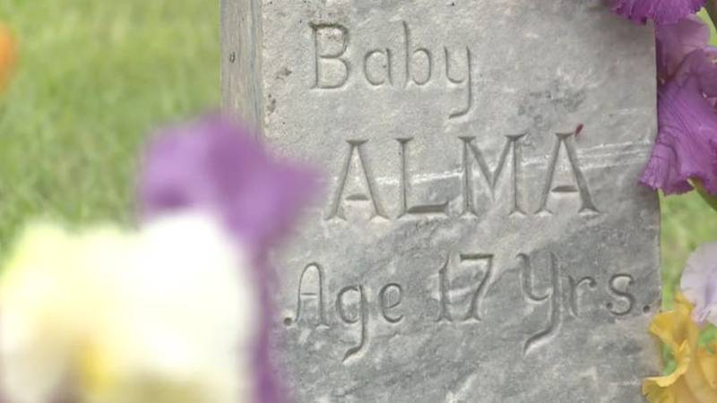 """""""Baby Alma,"""" billed as """"the fattest woman alive,"""" by a traveling carnival is buried in Hays,..."""