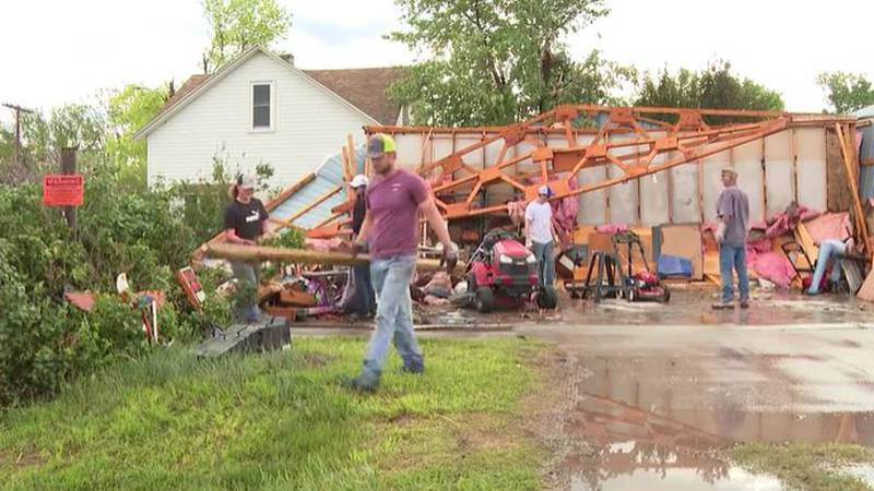 Volunteers came together on Tuesday after the town of Selden, Kan. took a direct hit from a...
