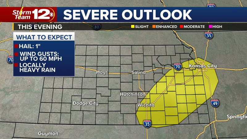 Along the cold front, showers and storms are possible and some may be severe over south-central...