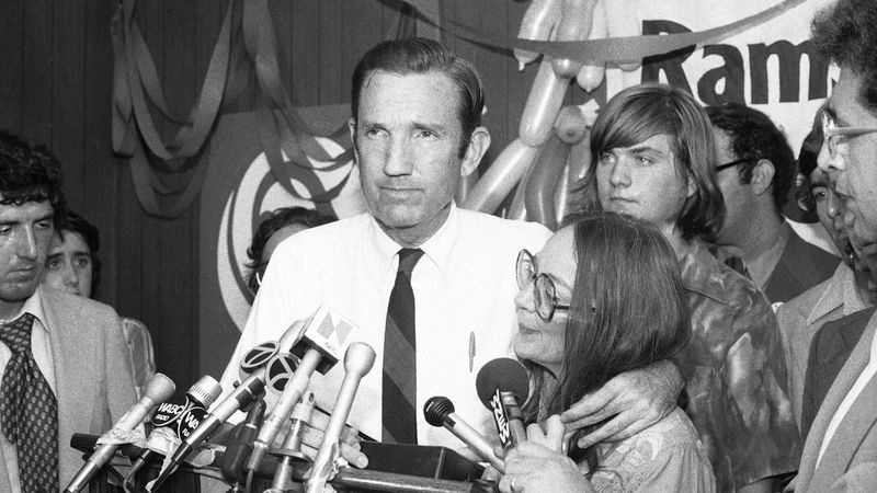 FILE - In this Wednesday, Sept. 14, 1976 file photo, Ramsey Clark, Democratic candidate for the...