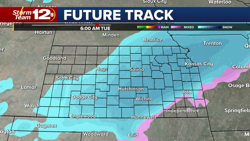 A cold front is coming that will bring a chance for snow Monday night through Tuesday morning.