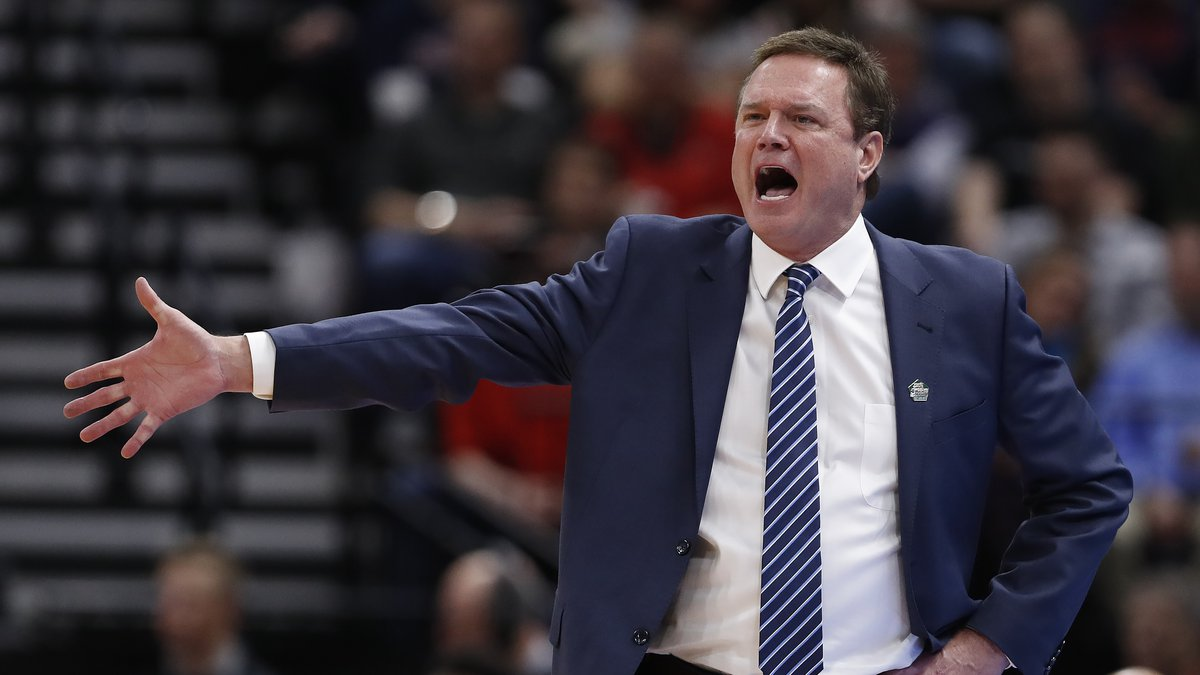 Kansas head coach Bill Self reacts in the first half during a first round men's college...