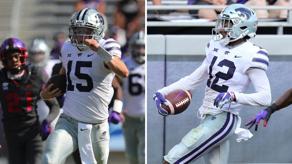 Kansas State's Will Howard and AJ Parker were both honored by the Big 12 after their win over TCU Saturday (AP Photos/Richard W. Rodriguez; KWCH composite)