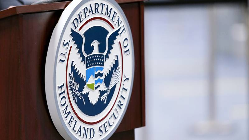 FILE - In this Nov. 20, 2020 file photo, a U.S. Department of Homeland Security plaque is...