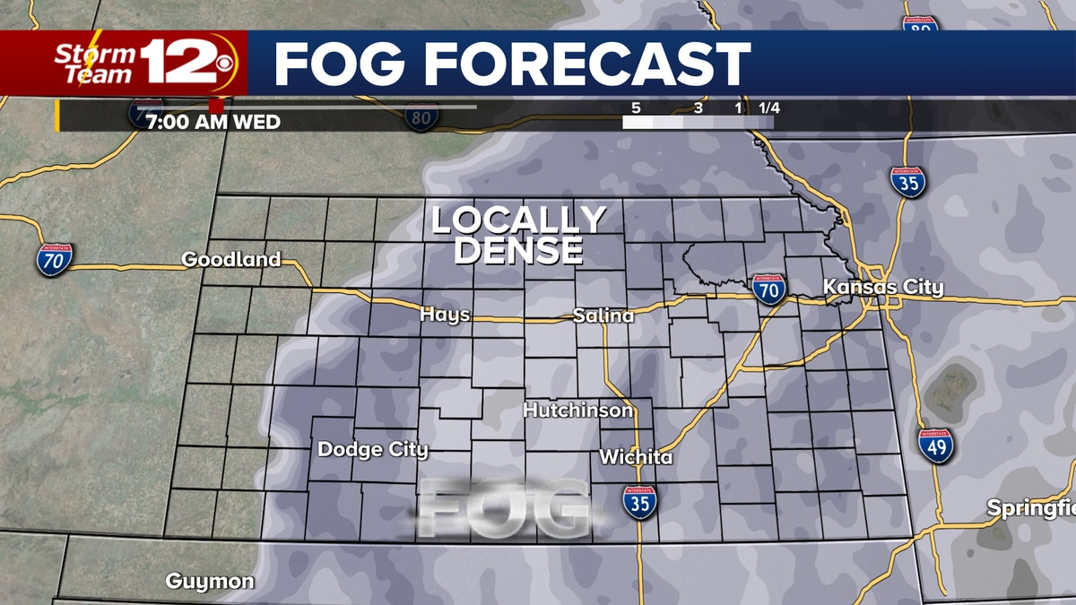 Foggy weather expected early Wednesday