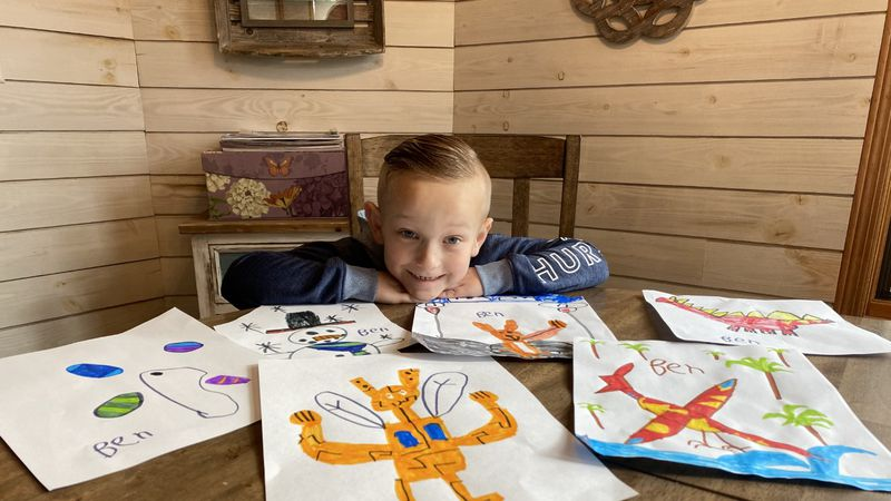 6-year-old Ben Jobe draws pictures to raise money to help kids in need in Wichita